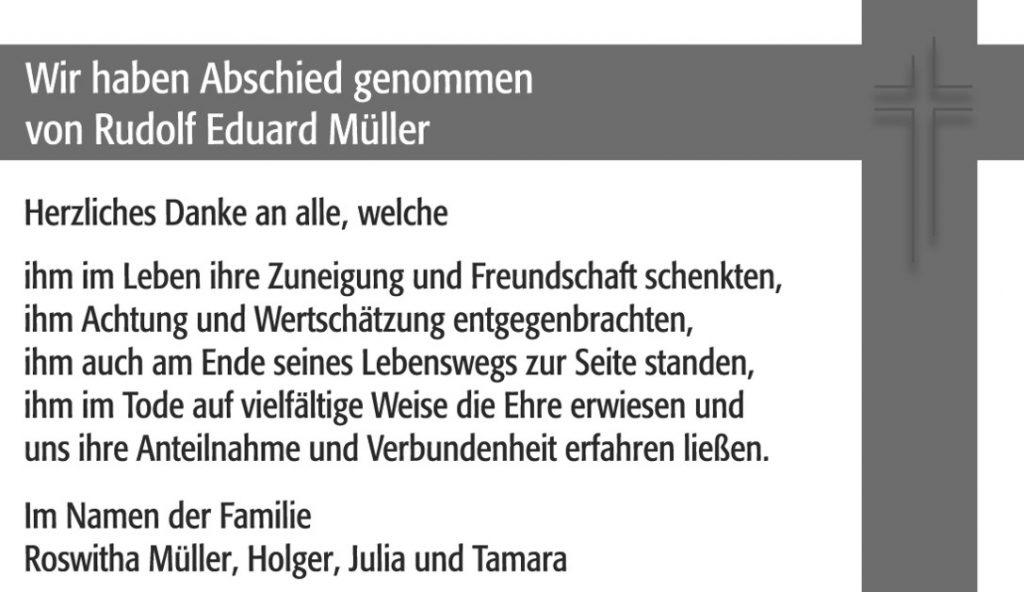 Danksagung Rudolf Müller