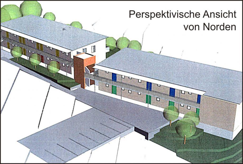 Perspektivische Ansicht Sozialwohnungen Reckenbacher Straße