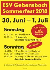 Sommerfest ESV Gebensbach 2018